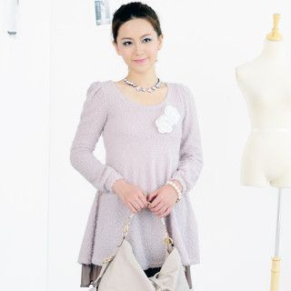 Floral Brooch Knit Dress Light Pink - One Size