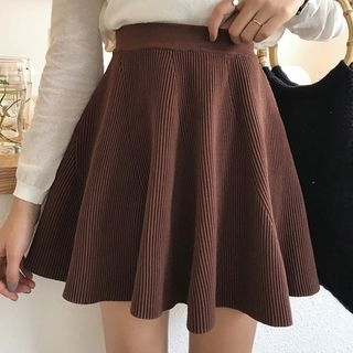 Ribbed A-Line Skirt 1062274708