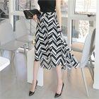 Dip-Back Pattern A-Line Long Skirt 1596
