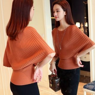 Elbow-Sleeve Ribbed Sweater 1062099712