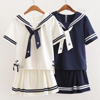Image of Set: Sailor Collar Top + A-Line Skirt