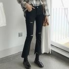 Distressed Boot-Cut Jeans 1596