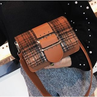 Plaid Panel Crossbody Bag
