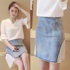 Denim Chiffon Panel Skirt 1596