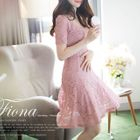 Short-Sleeve A-Line Lace Dress 1596