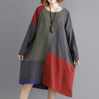 Image of Color Block Long-Sleeve Dress As Shown In Figure - One Size