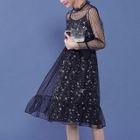 Set: Long-Sleeve Sheer Midi Dress + Strappy Floral Midi Dress 1596