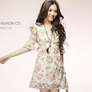 Buy Tokyo Fashion Elbow-Sleeve Floral-Print Dress 1022882792