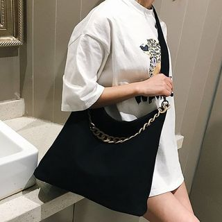 Image of Chained Canvas Shoulder Bag