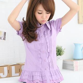 layer-hem-pleated-blouse