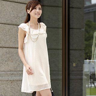 Buy 59th Street Sleeveless Ruffle Chiffon Dress Beige – One Size 1022554428