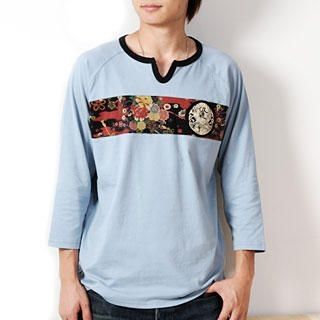 Picture of Namitatsu [Men] 3/4-Sleeve Notch-Neck Print Tee 1020683873 (Namitatsu, Mens Tees, Japan)