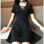 Lace-Up Short-Sleeve A-Line Dress 1596