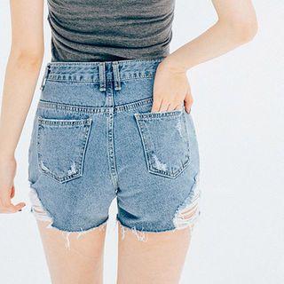 Distressed Washed Denim Shorts 1050708394