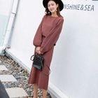 Set: Plain Knit Top + Midi Skirt 1596