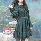 Frill Trim Long-Sleeve Dress 1596