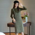 Set: Long-Sleeve Plain T-Shirt + Jumper Dress 1596