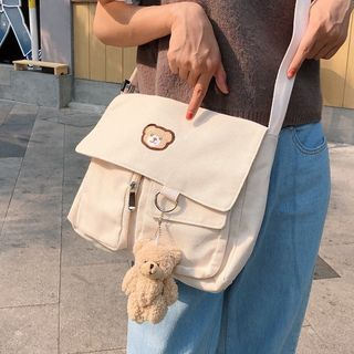 Image of Bear Embroidered Canvas Crossbody Bag / Bear Charm