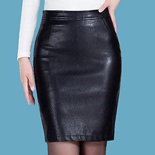 High-Waist Faux-Leather Mini Skirt