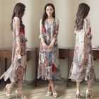 Set: Sleeveless Silk Printed Midi Dress + Long Top 1596