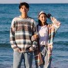 Couple Matching Color Block Sweater / Long Knit Cardigan 1596