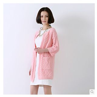 Image of 3/4-Sleeve Open-Front Long Cardigan