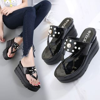 Image of Faux Pearl Platform Wedge Slide Sandals
