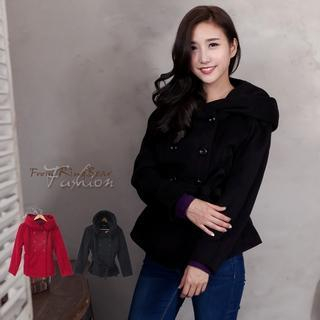 Image of Double-Breasted Waistband Hooded Woolen Jacket