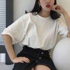 Elbow-Sleeve Plain T-Shirt 1596