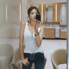 Lace-Up Front Ribbed Tank Top 1596