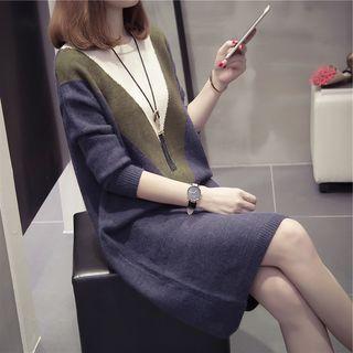 Image of Maternity Midi Color Block Sweater Dress