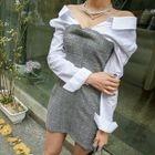 Inset Shirt Plaid Mini Sheath Dress 1596