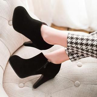 Zip-Side Heel Ankle Boots