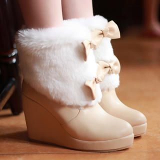 Faux-Fur Accent Wedge Boots