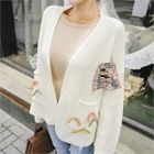 Applique Open-Front Cardigan with Brooch 1596