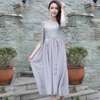 Lace-Panel Maxi Dress 1056021048