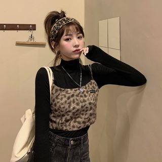 Long-sleeve T-shirt / Leopard Print Cropped Camisole