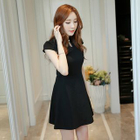 Mandarin Collar Short Sleeve Dress 1596