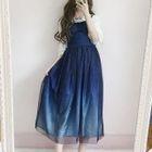 Sleeveless Lace Panel Dress / Ruffled Shirt 1596
