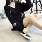 Image of V-Neck Floral Embroidered Sweater