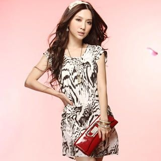 Buy Tokyo Fashion Cap-Sleeve Zebra-Print Dress 1022937058