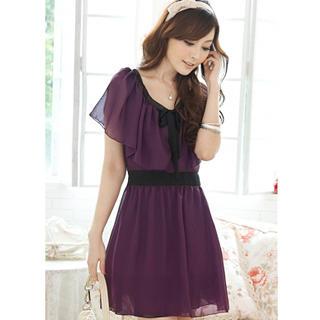 Buy Tokyo Fashion Cape-Collar Tie-Neck Chiffon Dress 1022937152