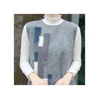 Frilled-Trim Wool Blend Knit Top 1054039109