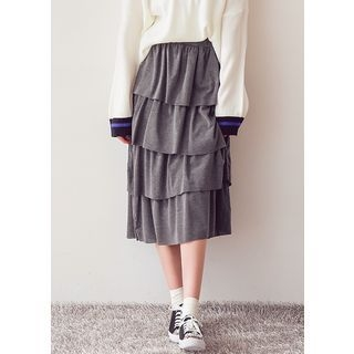 Band-Waist Long Tiered Skirt 1057353648
