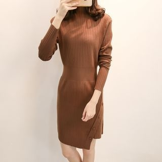 Mock Neck Rib Knit Dress 1062124672