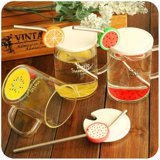 Print Glass Cup with Lid and Straw 1050442251