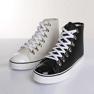 Picture of ISNOM High Top Lace-Up Sneakers 1022446169 (Sneakers, ISNOM Shoes, Korea Shoes, Mens Shoes, Mens Sneakers)