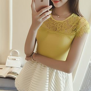 Short-Sleeve Lace Panel Knit Top 1050529039