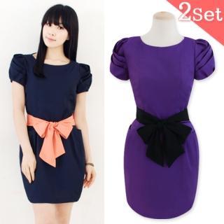 Buy Jessica Brook Puff Tulip Sleeve Tie-Waist Dress 1022482787