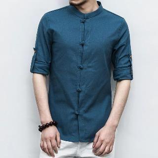 Image of Long-Sleeve Chinese Frog Shirt